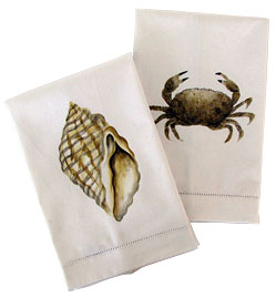 Handpainted Linen Guest Towels