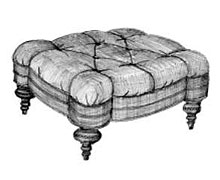 Tufted Tower Ottoman with Legs